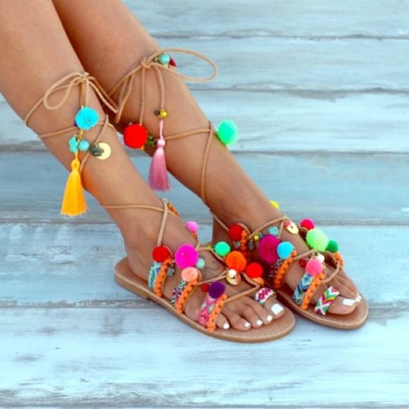 f572fbe7dd7a Elina Linardaki Shoes - Elina Linardaki Leather Gladiator Sandals